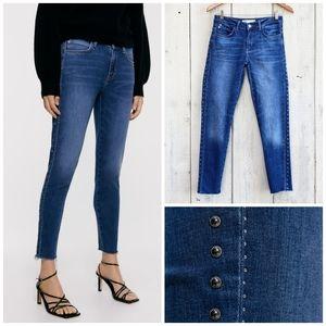 Zara Z1975 Side Studded Stripes Blue Jeans Size 6